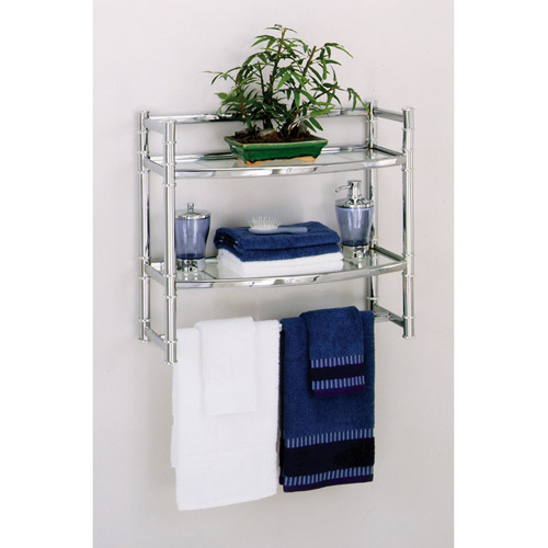 Zenith Wall Shelf With 2 Glass Shelves, Chrome Finish Part 42