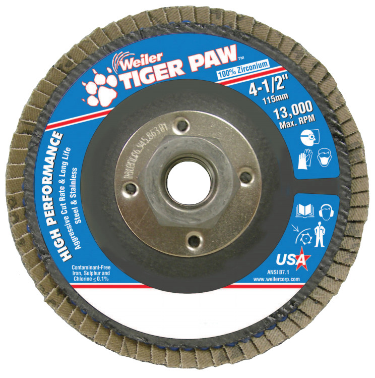 "Tiger Paw Coated Abrasive Flap Discs, 4 1/2"", 40 Grit, 5/8 Arbor, Phenolic Back"