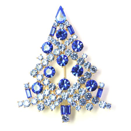 Christmas Tree Pin Brooch Gorgeous Sapphire Color Blue Crystal Diamond Ruby Sapphire Brooch