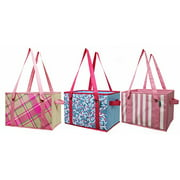Earthwise Reusable Grocery Bag Shopping Box Deluxe Collapsible Pink Plaid Fashion Tote with Reinforced Bottom (
