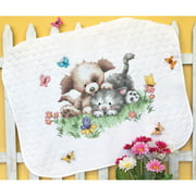 "Dimensions Pet Friends Baby Quilt Stamped Cross Stitch Kit, 43"" x 34"""