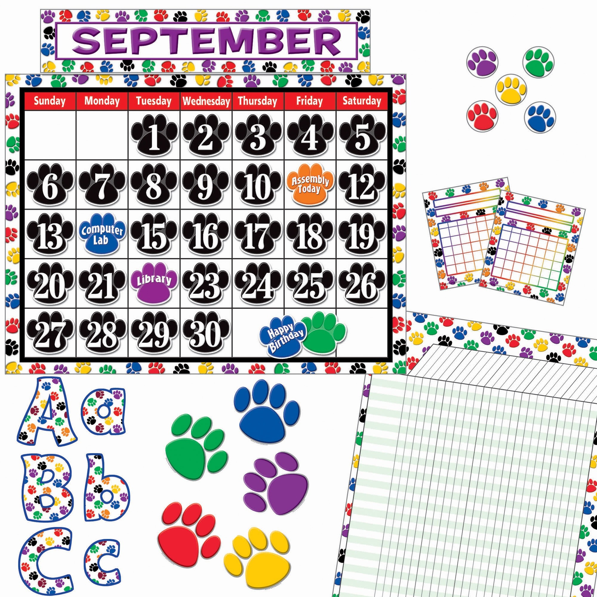 Teacher Created Resources, TCR9668, Paw Prints Accents Board Set, 1 Set, Multicolor