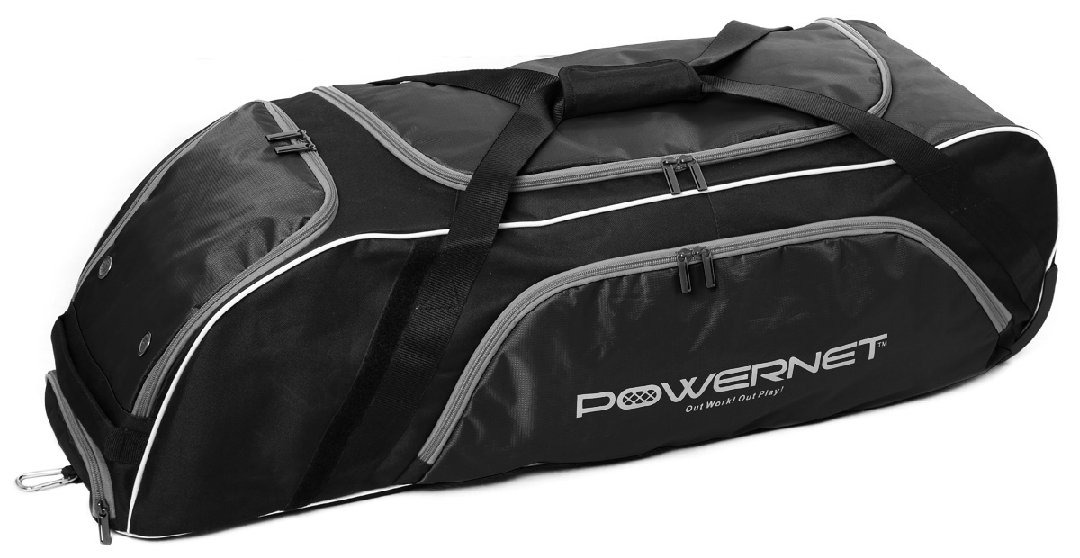 PowerNet Baseball Softball Wheeled Equipment Bag BLACK by