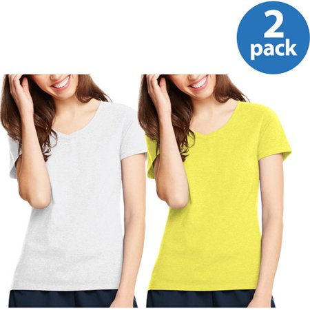by Hanes Women's Plus X-temp Short Sleeve V-neck 2 Pack Value Bundle