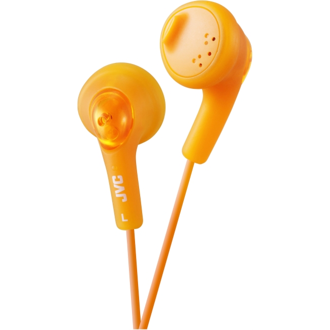 JVC Gumy HA-F160 Earphone - Stereo - Orange - Mini-phone - Wired - 16 Ohm - 15 Hz 20 kHz - Earbud - Binaural - Outer-ear