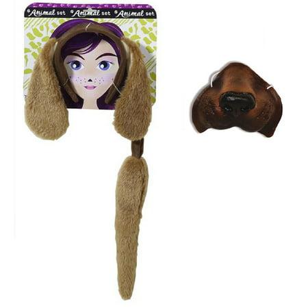 Brown Dog Kit Floppy Ears Headband Mini Nose Mask Tail Animal Puppy Pet Costume (Dog Mask Costume)