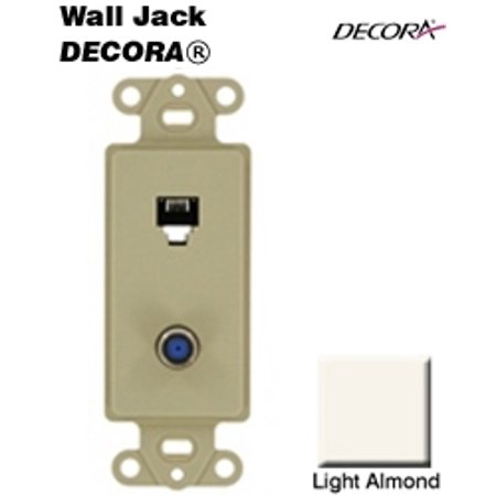 Leviton 40659-T Decora 6P4C   F-Connector Insert NAFTA - Light