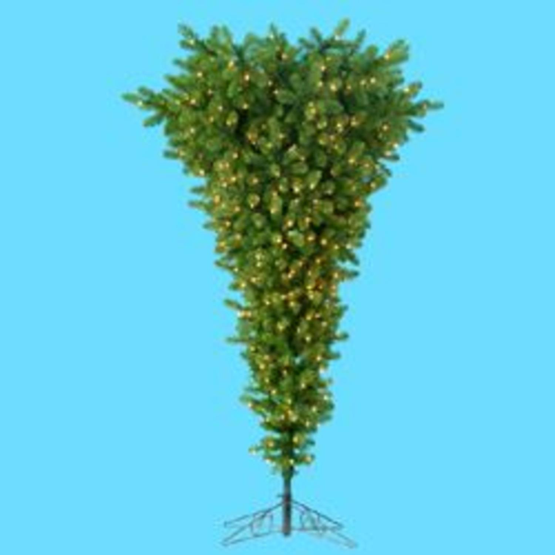 7.5' Pre-Lit Upside Down Decorative Christmas Tree - Clear Lights