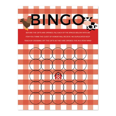 Farm Game (Red Farmhouse Barnyard Birthday, Bingo Game Cards, 20-Pack, Games Activities and)