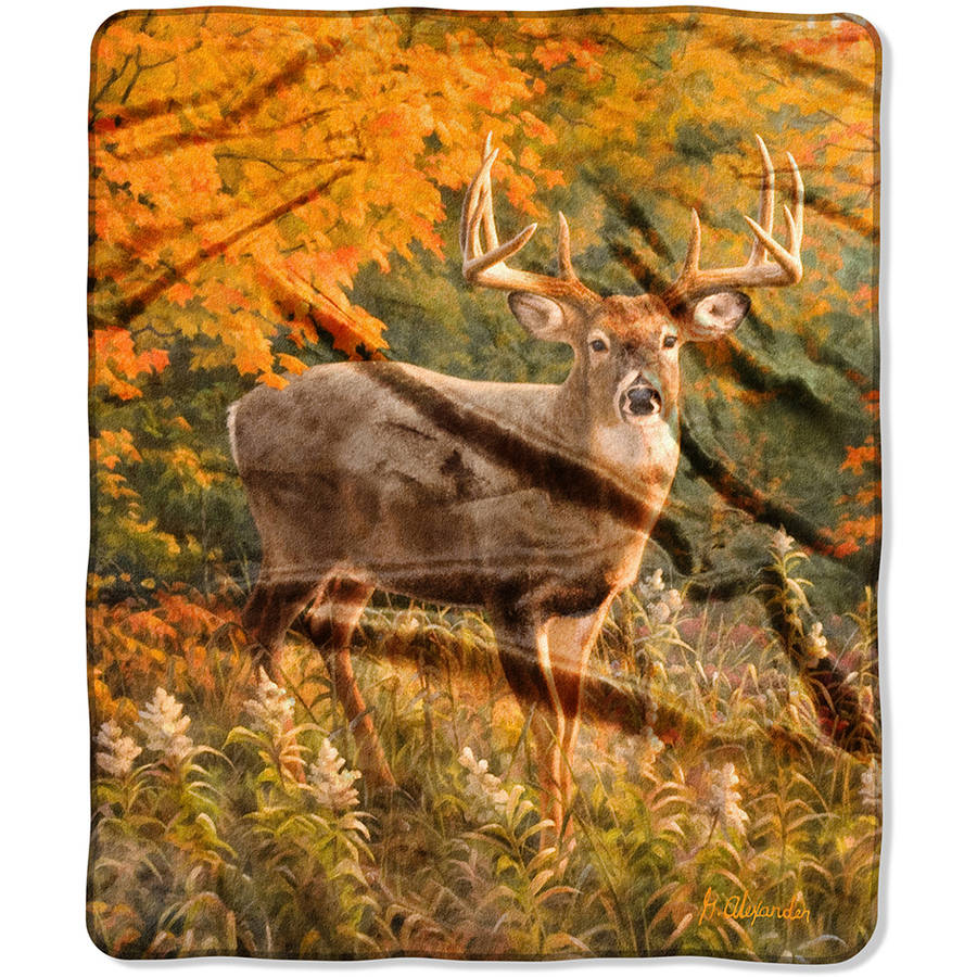 """The Northwest Company American Heritage Royal Plush 50"""" x 60"""" Reds of Fall Raschel Throw Blanket, 1 Each"""