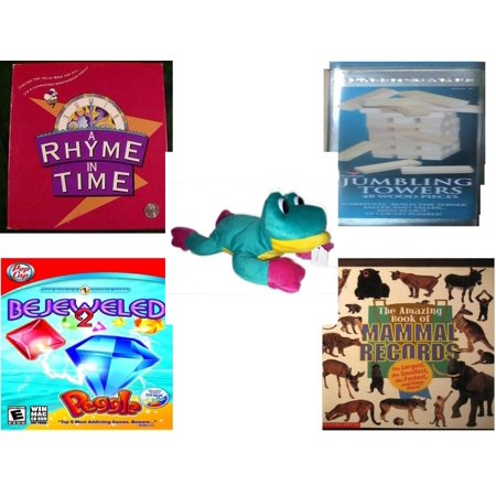 Bejeweled Frog - Children's Gift Bundle [5 Piece] -  A Rhyme In Time  - Solid Wood Jumbling Tower In A Tin  - Good Stuff  Frog 14