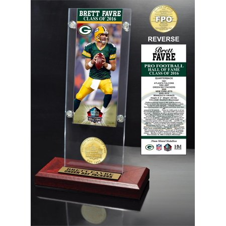 Brett Favre 2016 Pro Football Hof Induction Ticket   Bronze Coin Acrylic Desk Top