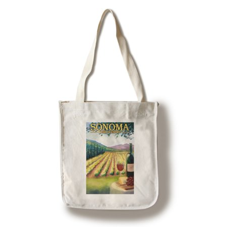 Sonoma County Wine Country - Lantern Press Artwork (100% Cotton Tote Bag - Reusable)