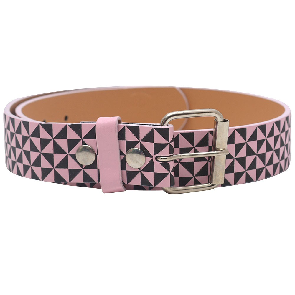 "Womens Pink Black Triangle Print Single Prong Buckle Belt S-XL (30""-44"")"