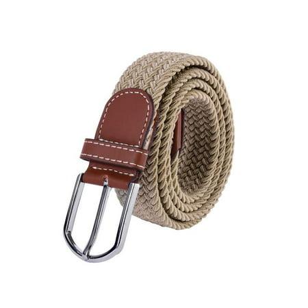 dailymall - 100*3.5cm Fashion Womens Mens Elastic Woven Leather Pin Buckle Waist Belt Canvas Waistband Durable 1PCS - Walmart.com