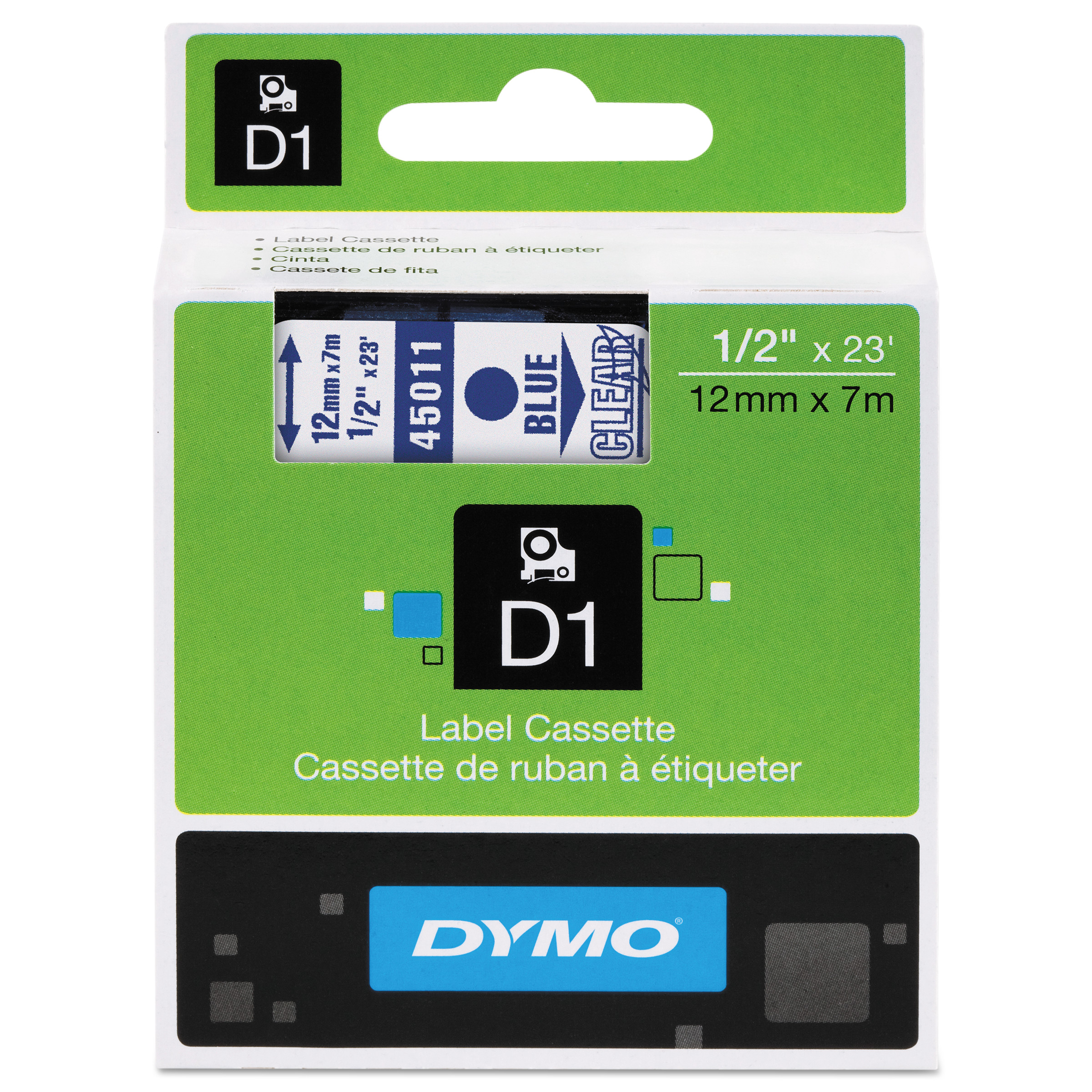 """DYMO D1 High-Performance Polyester Removable Label Tape, 1/2"""" x 23 ft, Blue on Clear"""