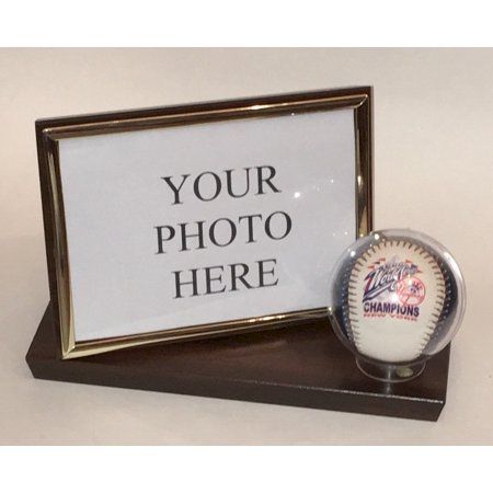Baseball and 4X6 Photo Horizontal Desktop Display Case - Cherry Finish Wood Base and Frame - Free (Engraved Glass Frames)