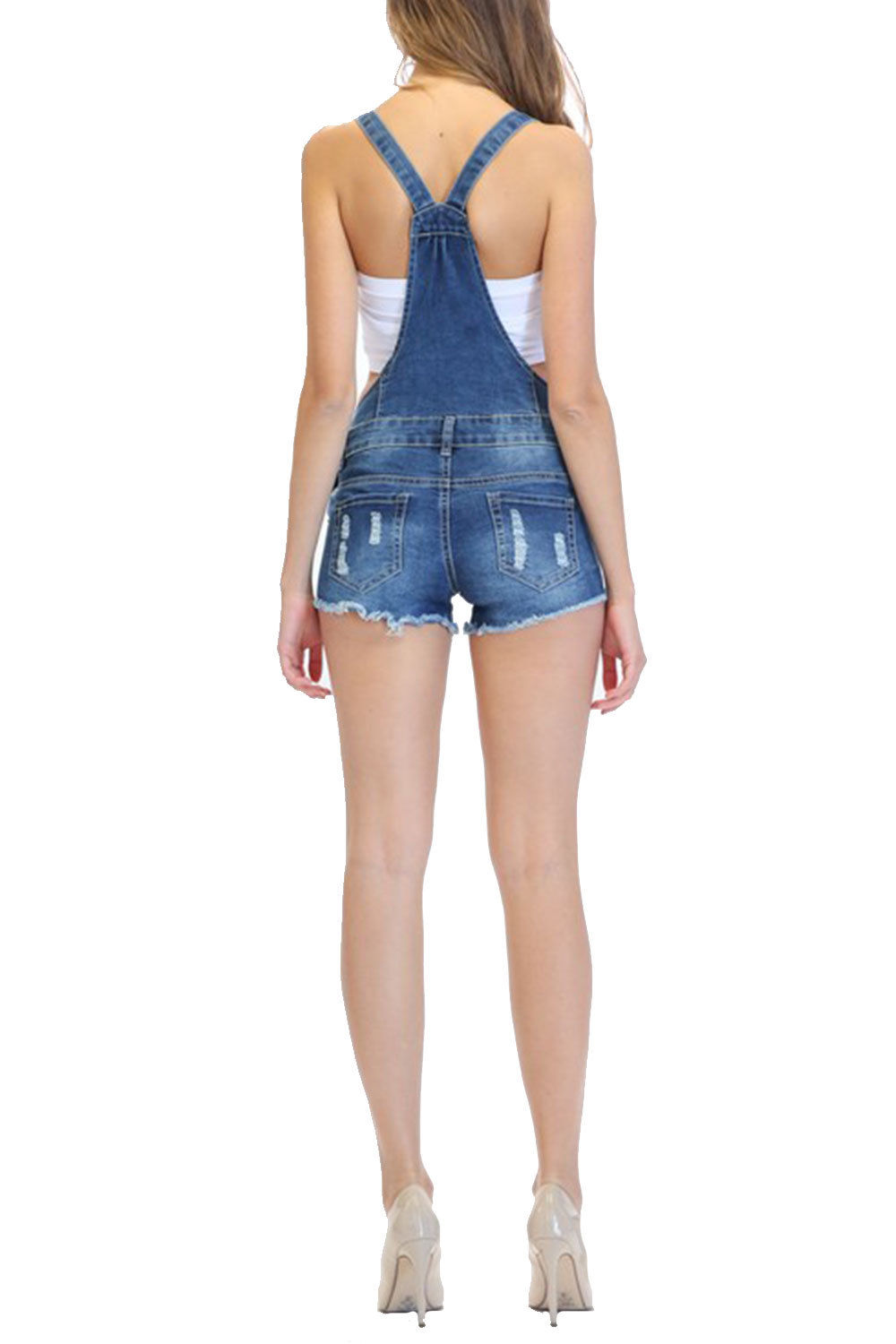 5c1ca2784 GENx - Womens Distressed Destroyed Denim Shorts Overall RJSO-608-M ...
