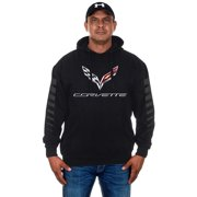 JH DESIGN GROUP Men's Chevy Corvette Pullover Hoodie with American Flag Sticker