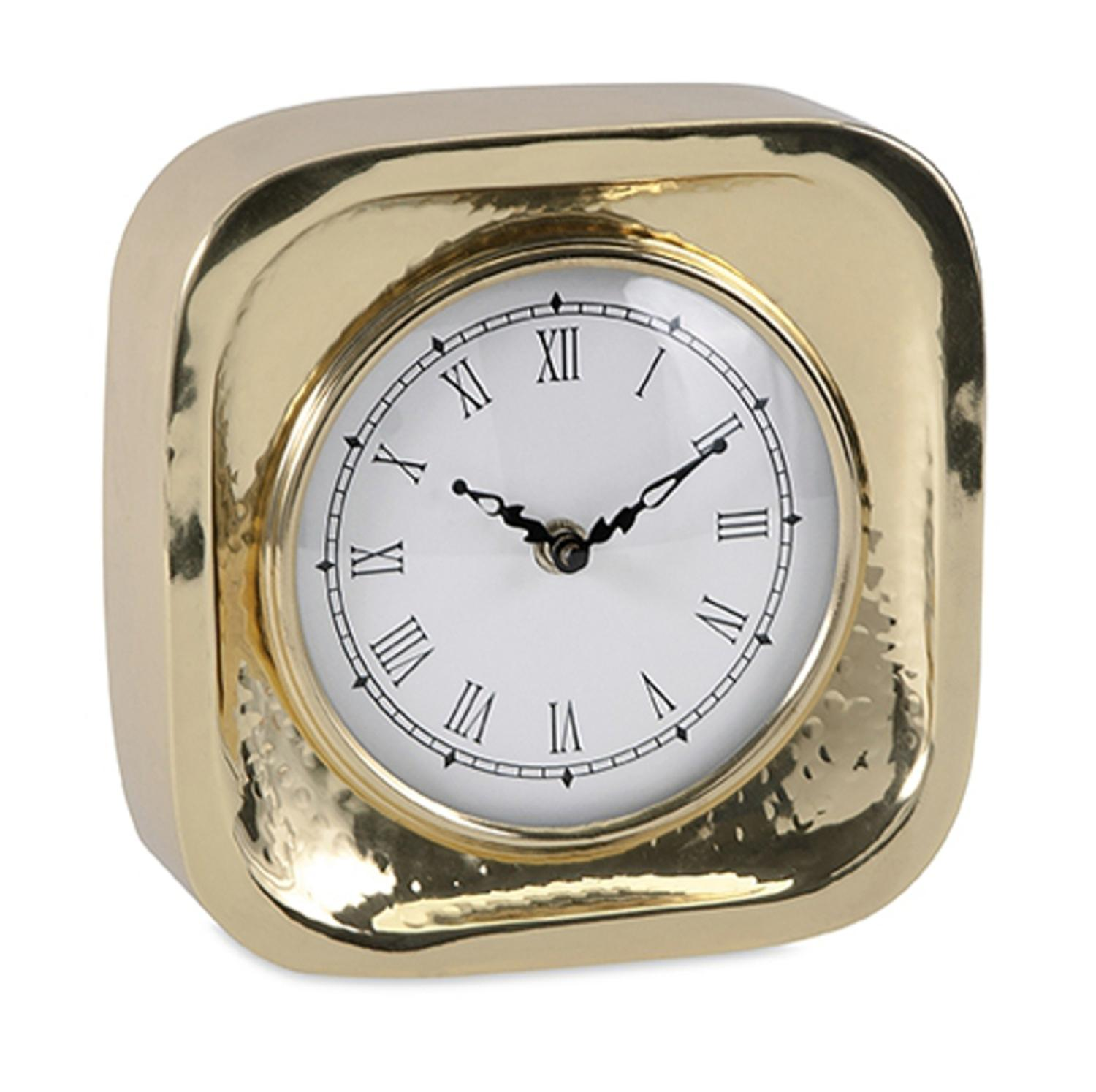 "7"" Elegant Contemporary Gold Brass Desk Clock with Roman Numeral Display"