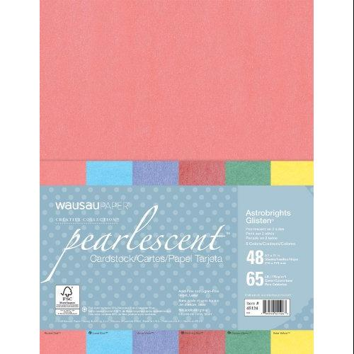 Wausau Papers 45124 Astrobrights Glisten Pearlescent Colored Paper, 65lb, 8-1/2 X 11, 48 Sheets/pack