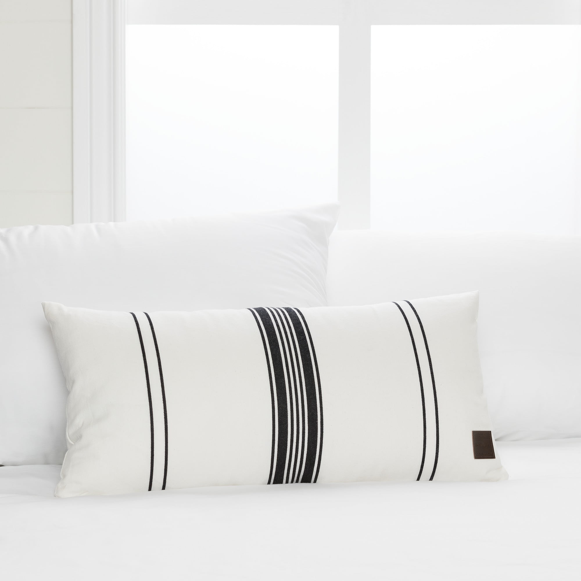 South Shore Lodge White and Black Striped Throw Pillow by South Shore