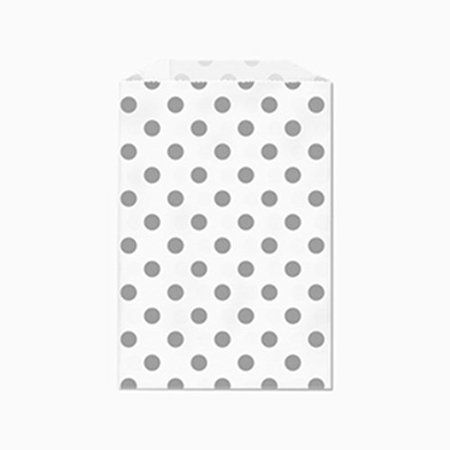 - Gray Polka Dot White Middy Bitty Flat Paper Bags 5 X 7 1/2 Inches Set of 25 bags
