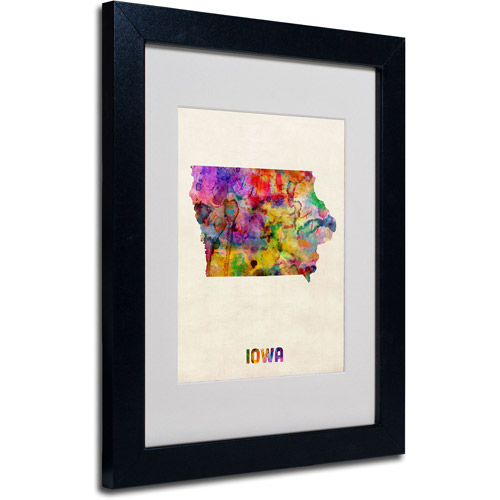 "Trademark Fine Art ""Iowa Map"" Matted Framed Art by Michael Tompsett, Black Frame"