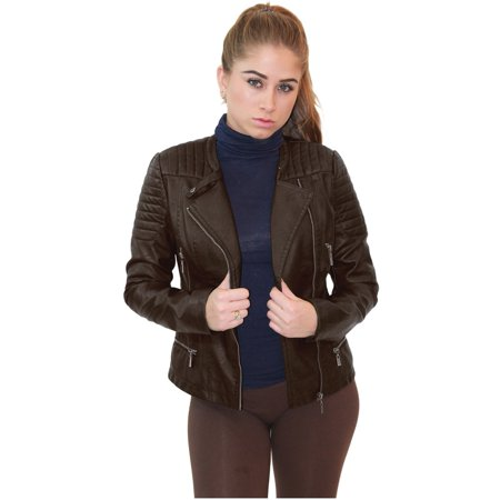 Olivia Miller Women Zip-Up Moto Faux Leather Jacket - Navy Unprecedented Jacket