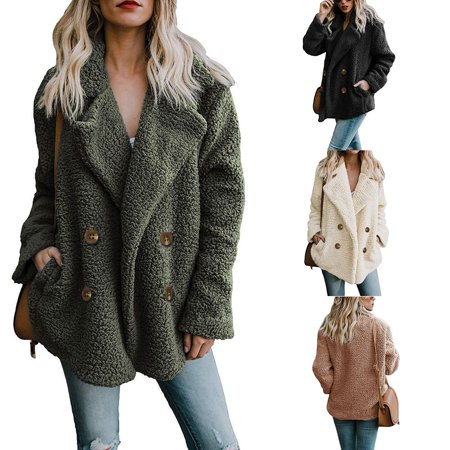 - Asian size Womens Oversized Teddy Bear Lapel Coat Ladies Faux Fur Borg Button Outerwear Jacket With Pockets