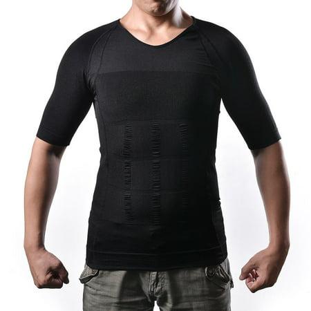 Shaper Body pour hommes Minceur Shirt taille Tummy perdre du poids de compression T-shirt Taille: L