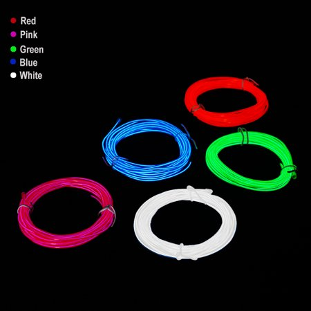 EL Wire Colorful Flexible Neon Light Battery Powered Electroluminescent Wire for Halloween Christmas Parties](Halloween Party Lighting)