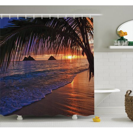 Hawaiian Decorations Shower Curtain Set  Pacific Sunrise At Lanikai Beach  Hawaii Sandy Tropics Distant Hills Leaves Landmark  Bathroom Accessories  69W X 70L Inches  By Ambesonne