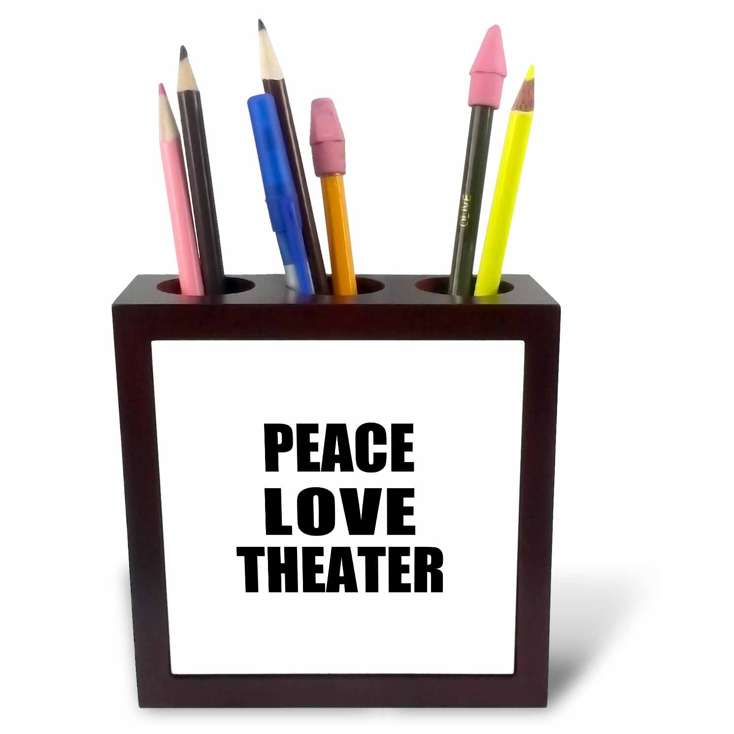 3dRose Peace Love and Theater - Things that make me happy - theater buff gift, Tile Pen Holder, 5-inch