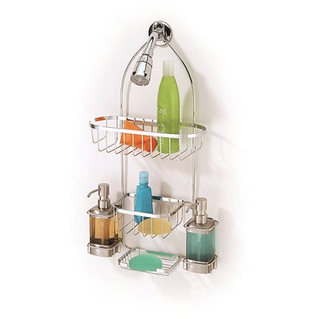 Mainstays Shower Caddy with Two Dispensers  Chrome. Mainstays Shower Caddy with Two Dispensers  Chrome   Walmart com