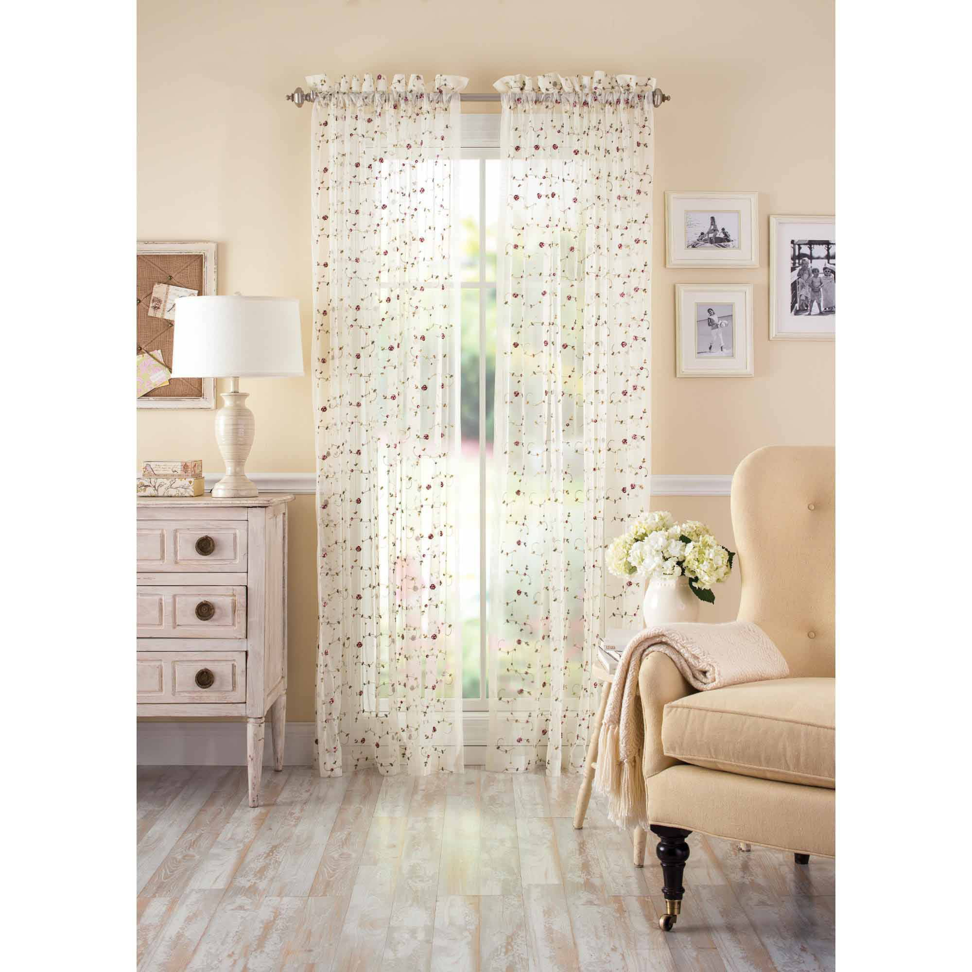 better homes and gardens vintage rose sheer window panel - walmart