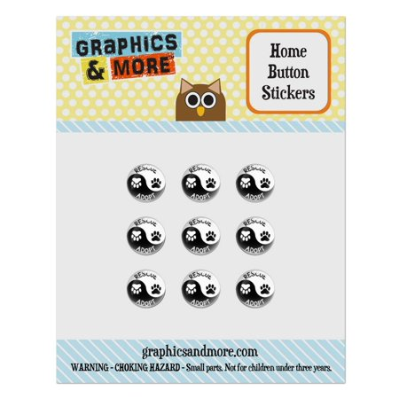 Rescue Adopt Yin Yang Paw Prints Dogs Cats Home Button Stickers Set Fit Apple iPhone iPad iPod Touch ()