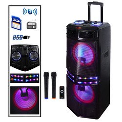 Befree Sound Dual 10 Inch Subwoofer Bluetooth Portable Party Speaker with Sound Reactive Party Lights, USB/ SD Input, Rechargeable Battery, Remote Control And 2 Wireless Microphones - Sound Reactive Glasses