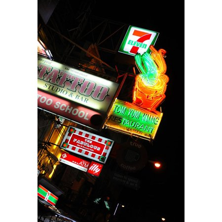 Laminated Poster Tattoo Seven Eleven Neon Night Signs City Poster Print 24 X 36