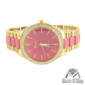Womens Gold Tone Watch Parker Pave Acetate Pink Dial Simulated Lab Created Cubic Zirconia Bezel by