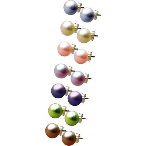 Pearl Stud Earrings, Multicolor 7-Pair Set
