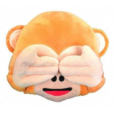 "SEE NO EVIL MONKEY PLUSH & PLUSH® TM 12"" Inch / 30cm Large Emoji Pillows Smiley Emoticon Soft Plush Stuffed Yellow Full Collection Cushions (USA SELLER)"