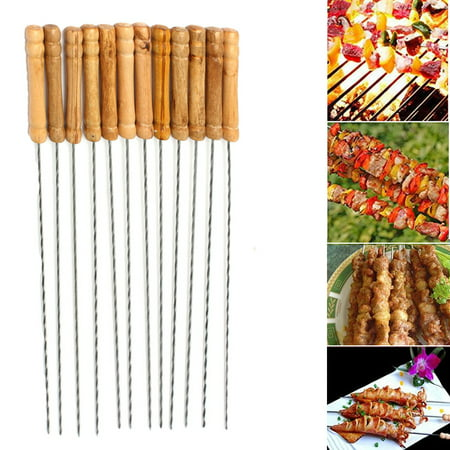 12Pcs Stainless Steel BBQ Roast Barbecue Skewer Grill Kebab Needles Stick Wood Handle,12 inch - Kabob Sticks