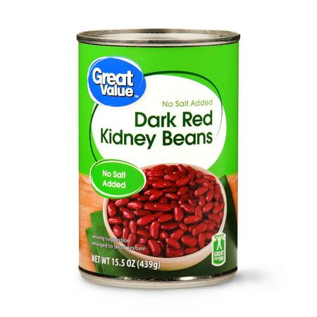 (Great Value Dark Red Kidney Beans, No Salt Added, 15.5 oz)