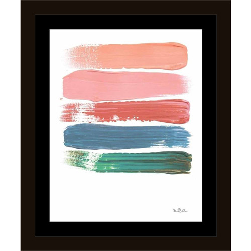 Paint Swatch Line Texture Contemporary Modern Trendy Abstract Painting Pink & Blue, Framed... by Circle Graphics