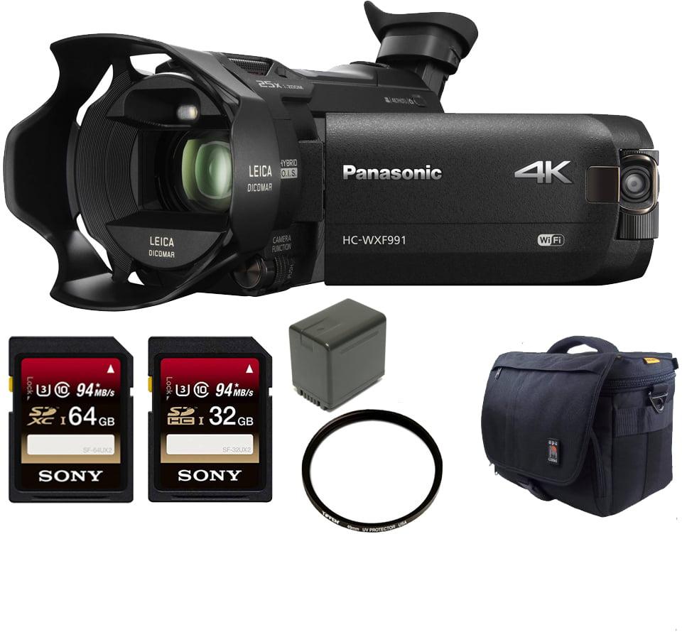 Panasonic HC-WXF991K 4K Ultra HD Camcorder w/ Wasabi VBT3...