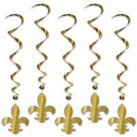 "Pack of 30 Gold Mardi Gras Fleur De Lis Metallic Hanging Party Decoration Whirls 36"""