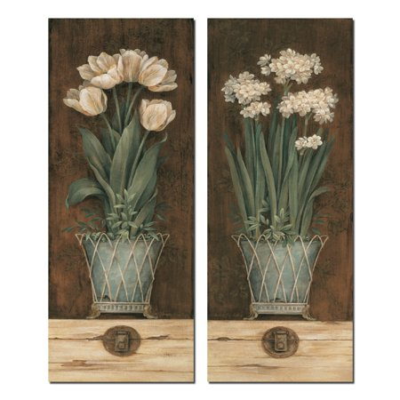 Petit Jardin I Lovely, Vintage White Flower Bouquets; Floral Decor; Two 8X20 Poster - Jardin Vintage Print
