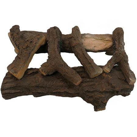 Regal Flame 22 Inch Oak Ceramic Fireplace Gas Logs - 6 Piece
