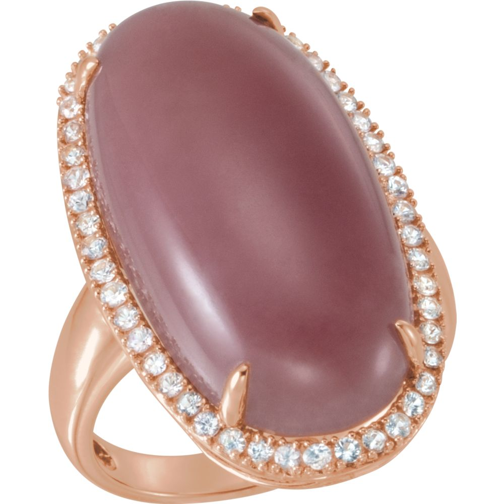 14k Rose Gold Chocolate Chalcedony & White Sapphire Halo Gemstone Ring by